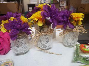 Mason jar vases and flowers for Sale in Phoenix, AZ