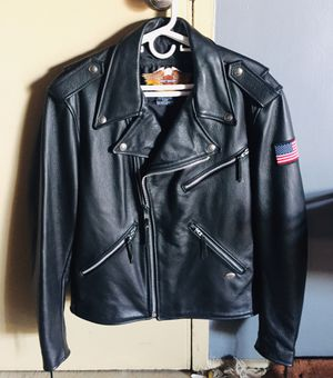 mens harley davidson leather jacket Large black basic skins shovelhead usa flag bar for Sale in UNIVERSITY PA, MD