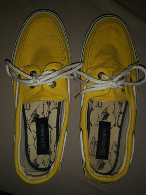 Sperry Top-Sider Womens Yellow boat shoes 7M fits more like an 8M for Sale in Baltimore, MD