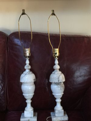 Vintage alabaster marble lamps. I have two. Excellent working order. No shades. $ 89/each or $175 for the pair for Sale in UPPER ARLNGTN, OH