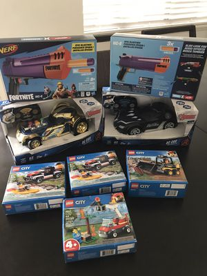 Toy bundle RC cars, legos and nerf fortnite guns for Sale in Riverside, CA