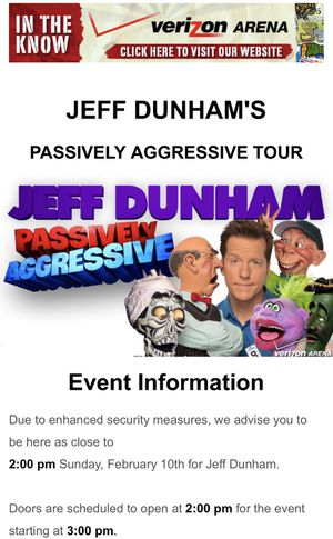 Jeff Dunham Tickets - Floor Seating for Sale in Little Rock, AR