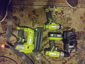 Ryobi nail gun impact gun end drill only 1 batery end charger for Sale in Denver, CO