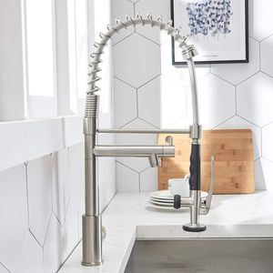 Brushed Nickel Kitchen Faucet modern Solid Brass Single Lever High Arch 2 Spouts Pull Out Sprayer with Lock for Sale in Coral Springs, FL