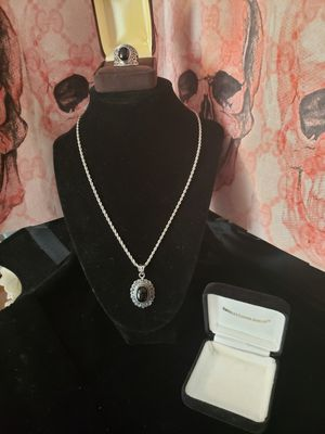 Solid silver and black onyx set..Pendant and sz 7.5ring old for Sale in Meriden, CT