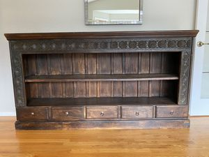 Wood Indonesian Long Bookcase - UNIQUE for Sale in Redmond, WA