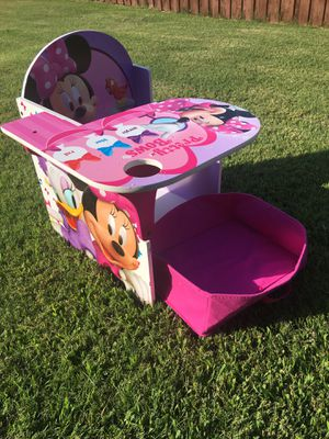 Disney Minnie Mouse Chair Desk With Storage Bin for Sale in Mansfield, TX