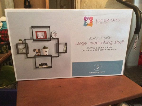 Black Floating Interlocking Wall Mount Shelf 5 Shelves Picture Frame, Plant Living Room Storage Cube Squares for Bedroom, Bathroom, Living Room