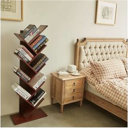 9-Shelf Tree Bookshelf, Floor Standing Tree Bookcase in Living Room/Home/Office, Bookshelves Storage Rack for CDs/Movies/Books - Cherry for Sale in Hacienda Heights, CA