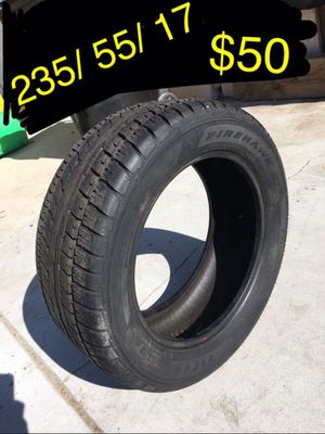235/ 55/ 17. Firestone tire. Tested. Like new used one week. Guaranteed to work money back for Sale in Ontario, CA