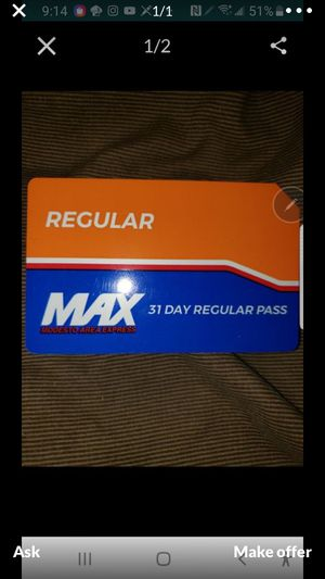 Regular MAX 31 Day Bus Ticket for Sale in Riverbank, CA
