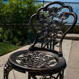 SHIPPING ONLY 3 Piece Patio Furniture Bistro Set for Outdoor Area Rose Design w/Table and Chairs for Sale in Las Vegas, NV