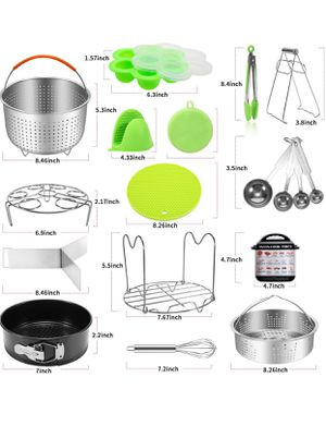 Antimi Pressure Cooker Accessories Set For Instant Pot 5,6,8 QT, Steamer Basket, Springform Pan, Egg Bites Molds, Steamer Rack, Dish Clip, Whis for Sale in Shawnee Hills, OH