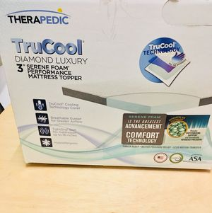 """Excellent condition Therapedic Twin Trucool Diamond Luxury Mattress Topper 3"""" Thick Serene Foam $250 for Sale in Gaithersburg, MD"""