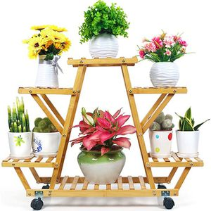 Bamboo Plant Stand with Wheels Multi-Layer Rolling Plant Flower Pots Holder Display Shelf Indoor&Outdoor Unit for Patio Corner Balcony Living Room Gar for Sale in Ontario, CA