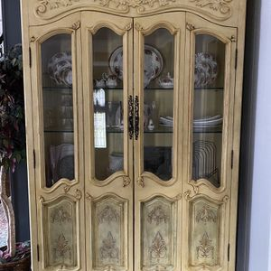 Yellow Antique China Cabinet for Sale in Houston, TX