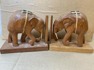 Hand Carved Teakwood Elephant Bookends handcrafted thailand for Sale in High Point, NC