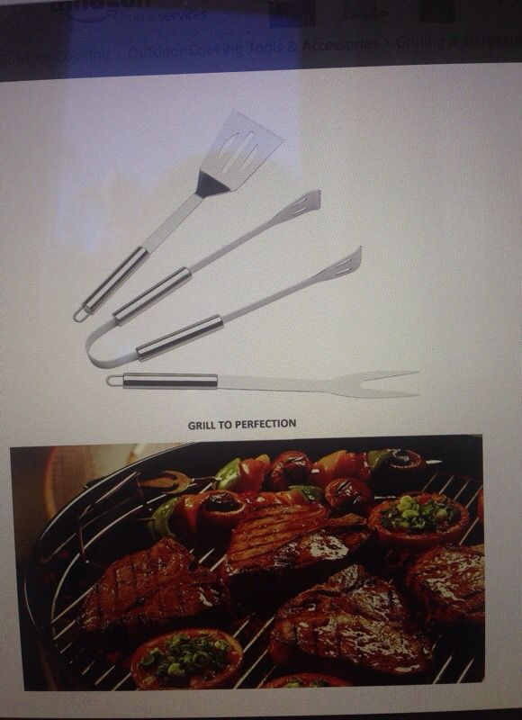 6 piece stainless steel BBQ accessory set- BBQ spatula, BBQ tongs, BBQ fork, Grill scrubber brush, meat thermometer, heat resistant BBQ glove and car