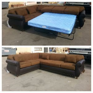 NEW 7X9FT CHOCOLATE MICROFIBER COMBO SECTIONAL WITH SLEEPER COUCHES for Sale in Las Vegas, NV