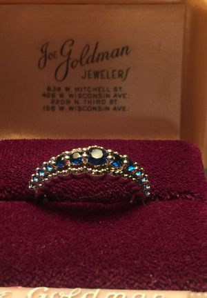 Beautiful deep blue Sapphires on Eternity band quality lab gems on stamped 925 sterling silver band size 8 for Sale in Brecksville, OH