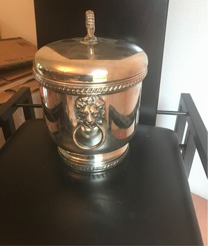 Gorgeous antique silver plate ice bucket with glass liner and tongs for Sale in Monroe, WA