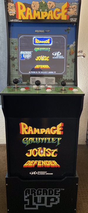 ARCADE 1 UP, 4 games Rampage, Gauntlet, Joust, Defender video games. Riser included. for Sale in Chula Vista, CA