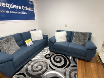 SALE!!! Mendoza Blue Fabric Sofa And Loveseat. No Credit Needed Financing. Same Day Delivery🚚!!! for Sale in Tampa,  FL