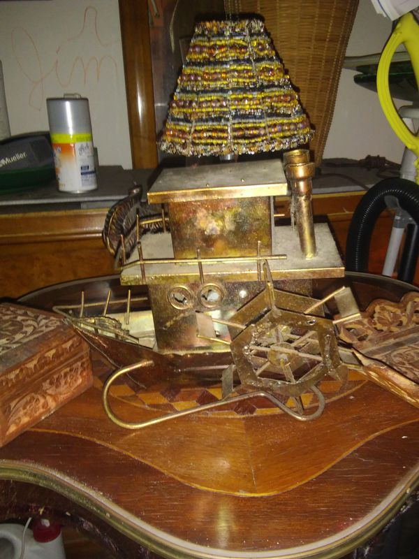 Handmade vintage copper Paddle Wheel boat music box plays Moon River