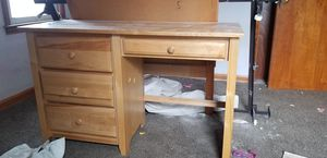 Small bed frame, head board and desk solid wood for Sale in Parma, OH
