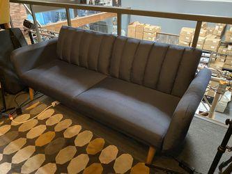 💙 Novogratz Brittany Sofa Futon - Premium Upholstery and Wooden Legs - Navy Blue // New Condition! for Sale in La Habra,  CA