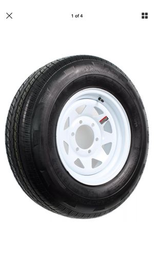 Radial Trailer Tire On Rim ST225/75R15 225/75-15 10 ply 6 Lug Wheel White Spoke for Sale in San Bernardino, CA