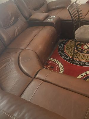 Real leather sectional and glass table for Sale in Greenville, SC