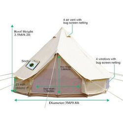 3m 4-Season Bell Tent Waterproof Cotton Canvas Glamping Camping Outdoor Use for Sale in Henderson,  NV