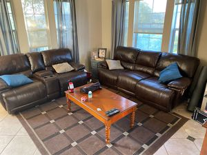 Double recliner sofa and loveseat for Sale in La Costa, CA
