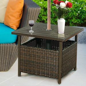 Brown Rattan Wicker Steel Side Table Outdoor Furniture Deck Garden Patio Pool for Sale in South El Monte, CA