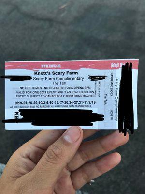 Knotts Scary Farm Ticket for Sale in La Mirada, CA