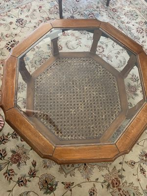 Antique Octa wood and glass coffee table for Sale in Los Angeles, CA