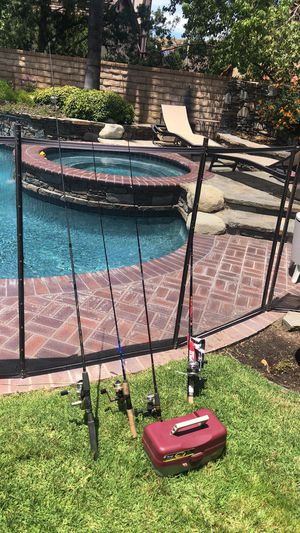 Four (4) Fishing Rods and Reels with a Tackle Box with Lures,Sinkers ,Bait and more. for Sale in Santa Clarita, CA