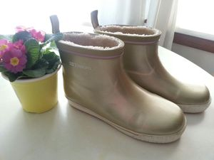 Trentorn Soft Gold Ankle Rain Boots Faux Fur Linned Size 38 or 7 1/2 for Sale in Cuyahoga Falls, OH