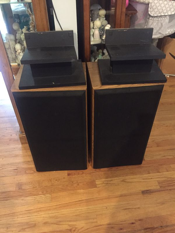 Polk Audio speakers with stands
