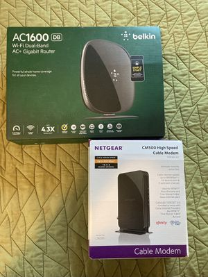 Router and Modem - Belkin AC1600 and Netgear CM500 for Sale in Plymouth, MI
