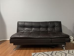 Brown Leather Futon for Sale in Lynnwood, WA