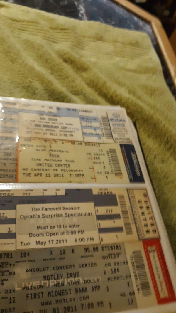Rock concert ticket stub collection