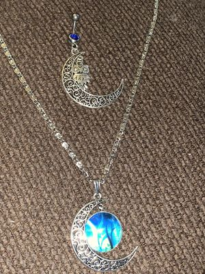 Necklace and belly-ring/adjustable spiritual/moon/owl for Sale in Virginia Beach, VA