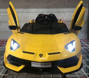 Ride On Car LAMBORGHINI AVENTADOR SVJ 12V W/ Parental Remote Control, MP3, LED lights, Leather Seat, Open Doors Brand New!!!! for Sale in Margate, FL