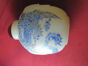 Antique White jade blue dragon hand paint snuff bottle for Sale in ROWLAND HGHTS, CA