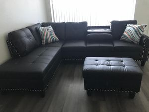 NEW ‼🎃HOT 🔥3 PCS BLACK SECTIONAL 🎃W/OTTOMAN•2 SETS LEFT FIRST TO COME FIRST TO SERVE💫🧟‍♂️🎃 for Sale in Las Vegas, NV