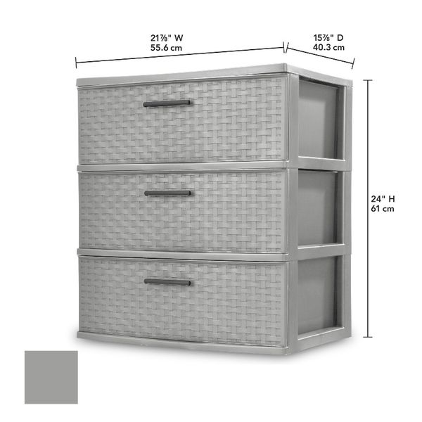 Sterilite 3 Drawer Wide Weave Tower Cement
