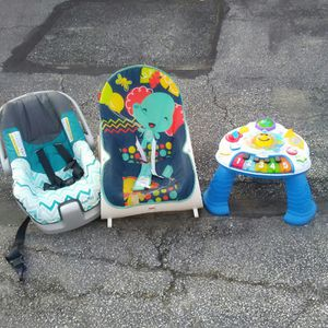 Car seat for a infant, baby rocker, and stand up toy for Sale in Glen Burnie, MD