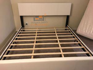 Brand New King Size White Leather Platform Bed Frame for Sale in Arlington, VA
